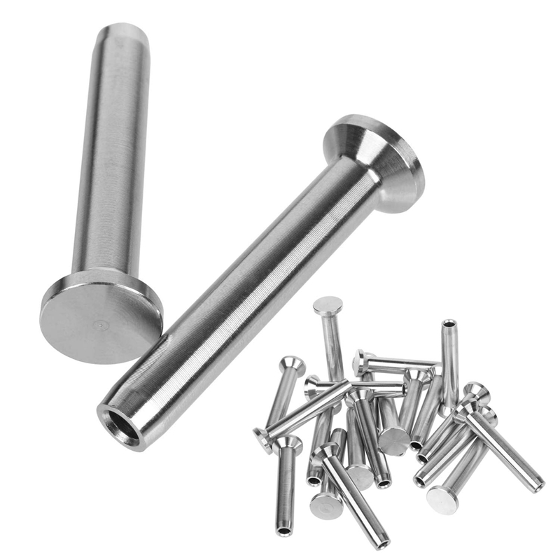 TOP 40Pcs T316 Stainless Steel Hand-Crimp Stemball Swage For 1/8 Inch Cable Railing Deck Railing Hand Railing Wood And Metal Pos