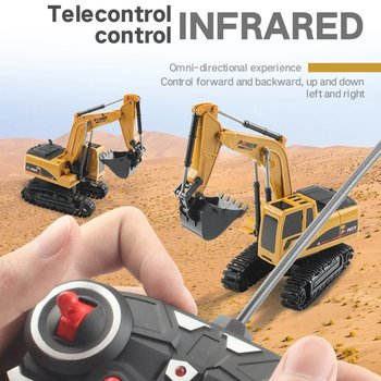 The New 2.4Ghz 5 Channel 1:24 RC Excavator toy RC Engineering Car Alloy and plastic Excavator RTR For kids Christmas gift rc alloy 1 24 excavator real remote control car engineering vehicle model toy five channel excavator for children toy
