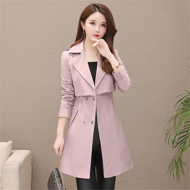 fashion Windbreaker Female long section 2019 Spring Autumn New Korean Large Size Suit Collar Waist Zipper Trench Coat Women N960