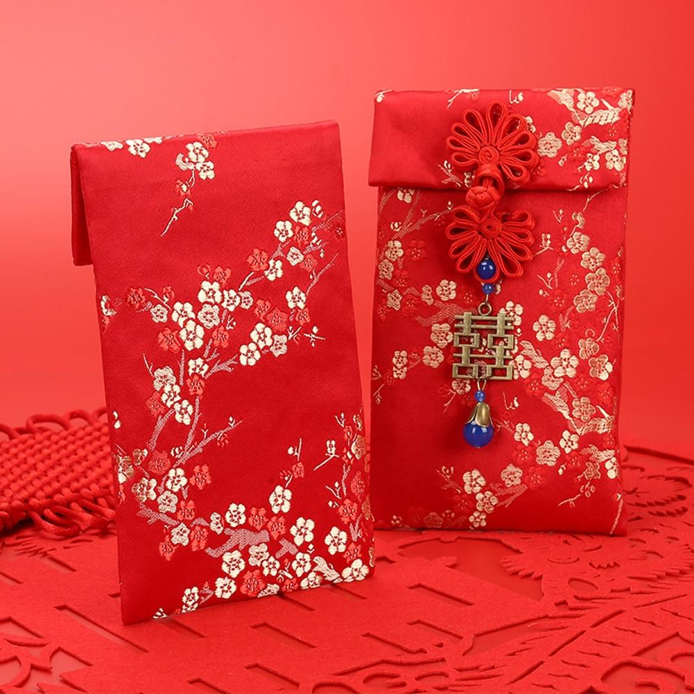 2020 Brocade Traditional Hong Bao Tassel Thickened Red Envelopes Money Pocket Wedding Birthday Chinese New Year Spring Festival