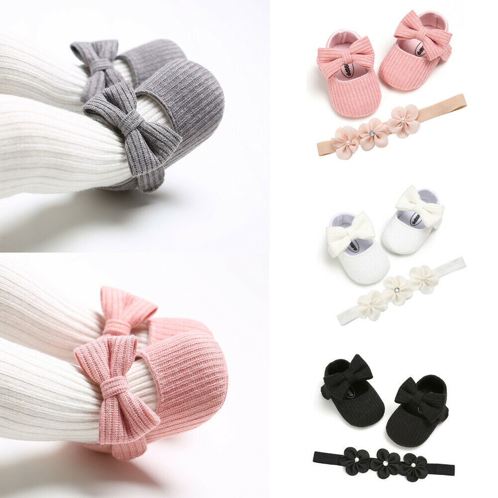 Soft Sole Infant Baby Girl Shoes Bowknot Decor Kids Children Walking Shoes With Headband