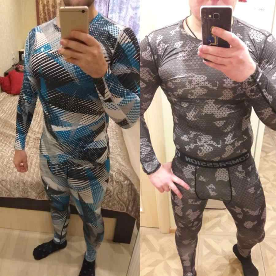 Camouflage tracksuit Men Rashgarda MMA Long sleevets t shirt Men's Compression suit Kids Teen Fitness shirt Thermal underwear