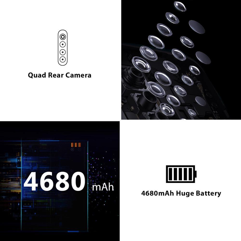 Global Version Blackview A80 Pro 4GB+64GB 4680mAh Mobile Phone Quad Rear Camera 6.49' Waterdrop Cellphone 4G Celular Smartphone