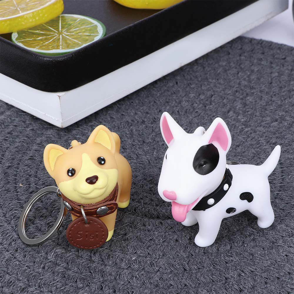 1PC Cute Dog Keychain Figure PVC Doll Toys Key Ring Holder Shiba Inu Bull Terrier Excellent Gift  for Car Accessories