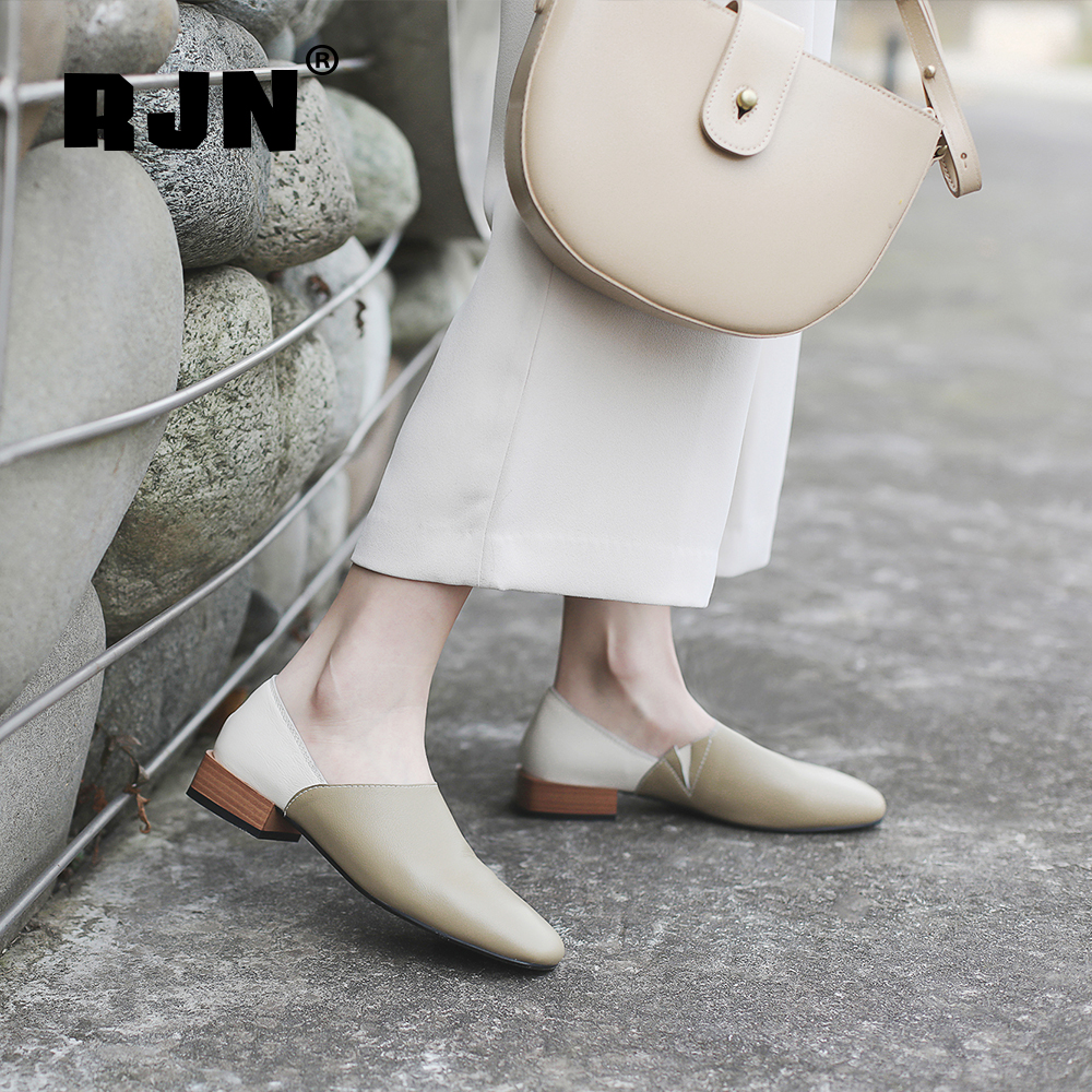 Cheap RJN Soft Women Pumps Leisure Mixed Color Genuine Leather Slip-On Comfortable Round Toe Square Heel Ladies Shallow Shoes RO18
