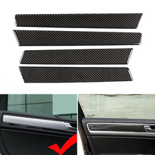 Real Carbon Fiber Car Interior Window Door Panel Cover Trim For VW Touareg 2011   2018