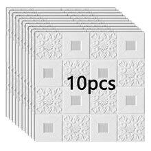 Autocollants muraux 3D en stéréo pour décoration, panneaux décoratifs pour plafond et toit, papier peint en mousse pour le décor d'intérieur, chambre à coucher ou arrière-plan de TV