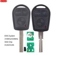 KEYECU EWS Remote Key 3 Tasten 315MHz/433MHz ID44 Chip Im Inneren für Alte BMW HU92/HU58 klinge (KYDZ)