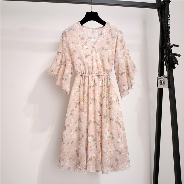 Spring Summer Chiffon Dress Women Knee Length V-Neck Print Dresses Sweet Ruffle Sleeeve Slim New Casual Drawstring Women Dress 2