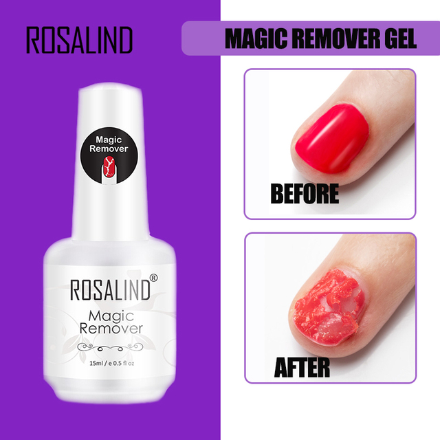 ROSALIND Magic Remover Gel Nail Polish Remover Within 2-3 MINS Peel off Varnishes Base Top Coat without Soak off water 1