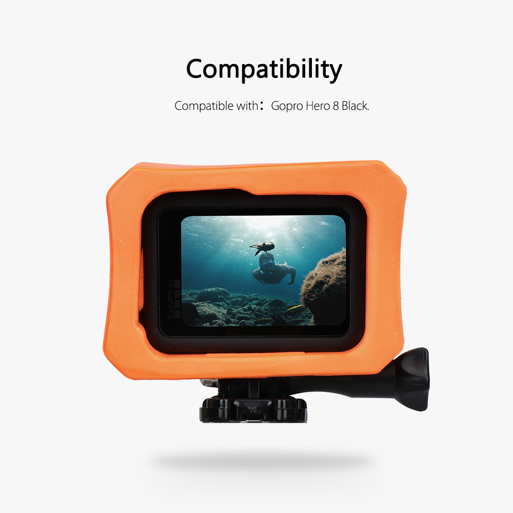 Vamson Orange Floaty Case Protective Surfing Cover for Gopro Hero 8 Black Water Accessory Floating Housing Anti-Sink VP655