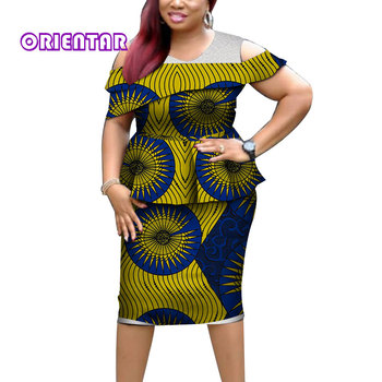 2019 African Clothes Set Women African Print Top and Mini Skirts Elegant LAdy Bazin Riche 2 Pieces African Skirt Sets WY4397