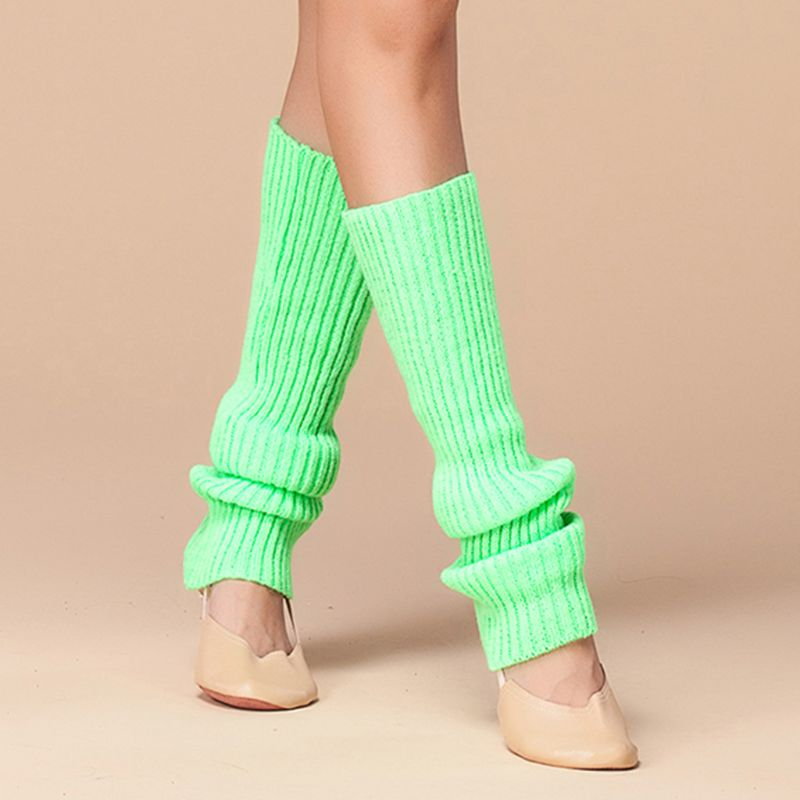 Womens 80s Neon Fluorescent Ribbed Knit Crochet Leg Warmers Bright Solid Color Dance Yoga Long Footless Socks Party Accessories