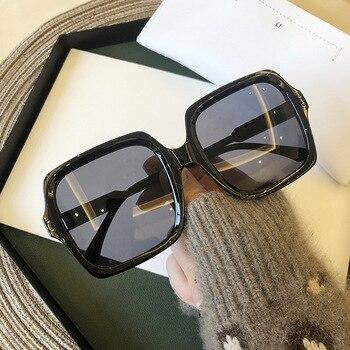 Vintage Oversize Square Sunglasses Women Luxury Brand Big Frame Women Sun Glasses  2