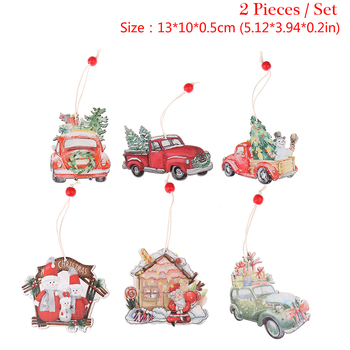 Christmas Car Wooden Pendants Xmas Tree Hanging Ornaments DIY Wood Crafts Kids Gift Decoration Home Accessories image