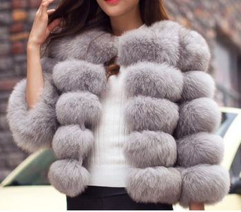 Women Faux Autumn Winter 2020 Casual Thick Warm Coat Outerwear Fake Fur Jacket Plus Size Faux Fox Fur Overcoat Long Mink Coats image