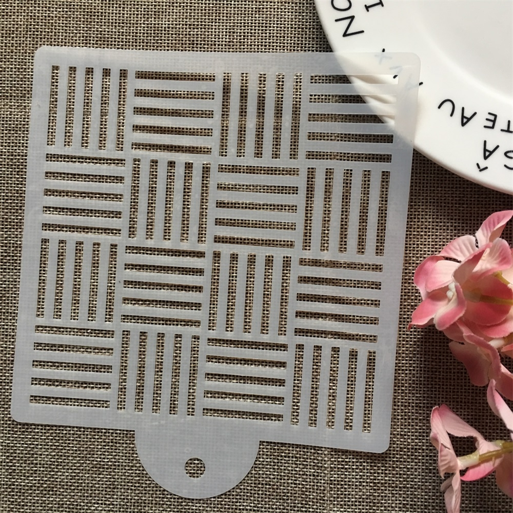 15cm Three Line Square DIY Layering Stencils Wall Painting Scrapbook Coloring Embossing Album Decorative Card Template