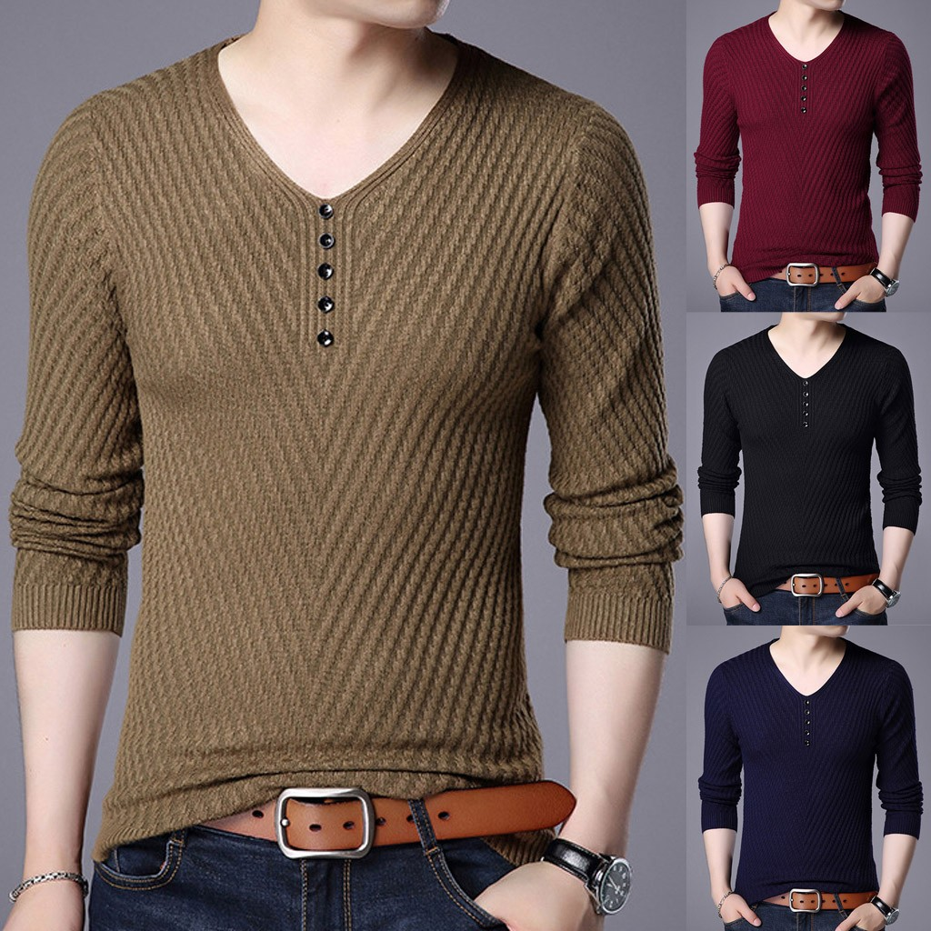 Men's  Fashionable New Solid Color Button V-Neck Long Sleeve Sweater Blouse SweaterCoats Male Warm Slim Fit Clothing Pullovers