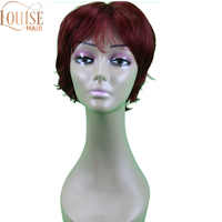 Louise Short Burgundy Wig Curly Synthetic Hair Women Wigs Red with Bangs Fluttty Straight Wig