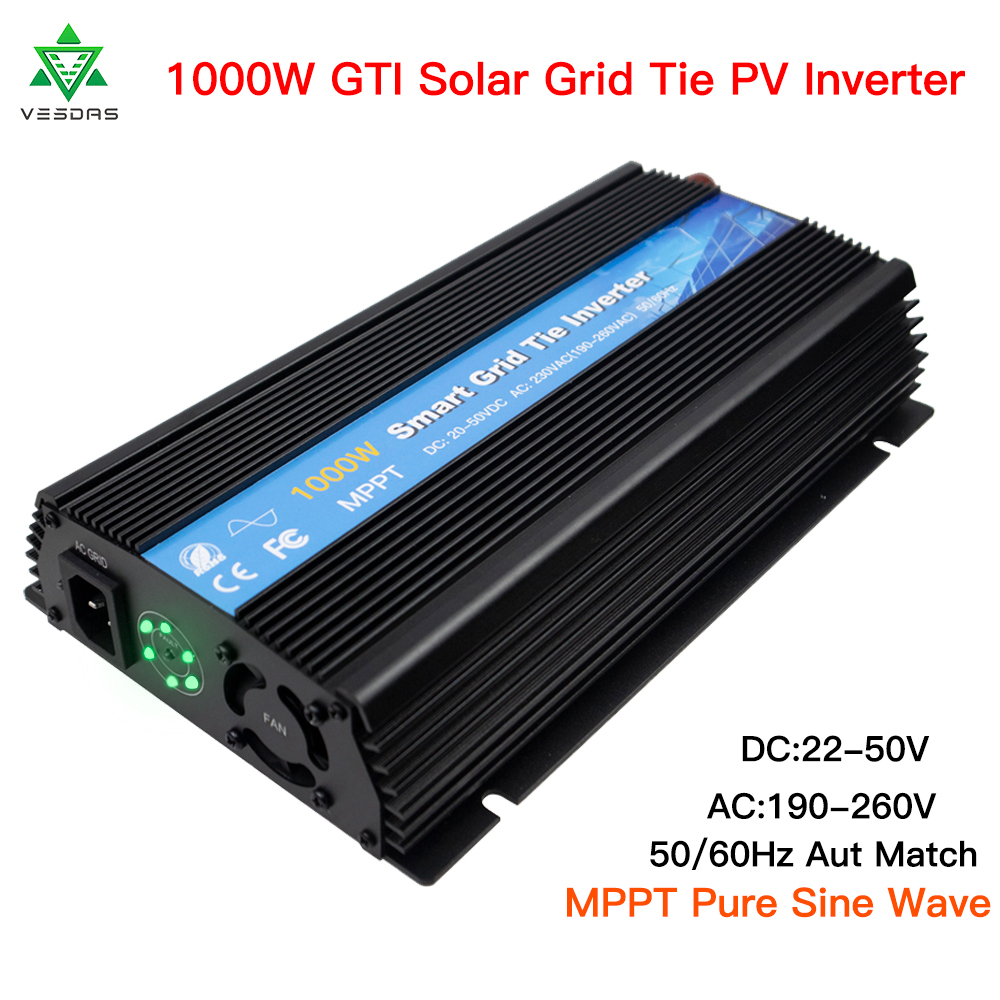 GTI1000 MPPT Solar Grid Tie Inverter 1000W Micro Power Inversor 22-50VDC To 190-260VAC With Pure Sine Wave For 220V Inverter