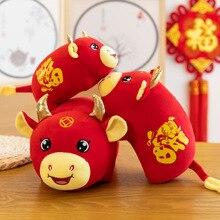 20/25/32cm 2021 yeni yıl çin zodyak öküz peluş oyuncaklar kırmızı inek maskot peluş bebek dolması çocuklar için çocuklar için doğum günü hediyesi
