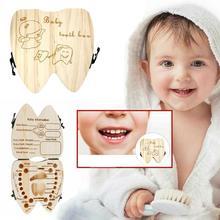 Organizer Cord-Storage Teeth-Case Souvenir Gift-Box Wooden Umbilica Baby Hair U6D1