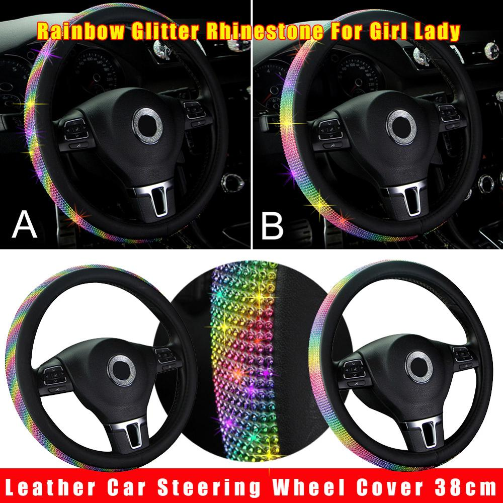 High-end Design Leather <font><b>Car</b></font> Steering <font><b>Wheel</b></font> <font><b>Cover</b></font> 38cm Glitter Rhinestone <font><b>For</b></font> Girl Lady <font><b>Women</b></font> carro Wholesale Quick delivery CSV image