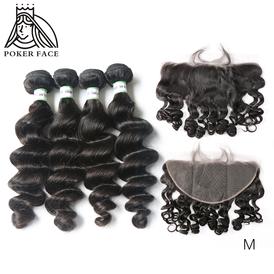 8-30 Inch Brazilian Hair Weave Loose Wave Human Hair 3 4 Bundles With Lace Frontal Remy Hair Double Drawn Middle Ration
