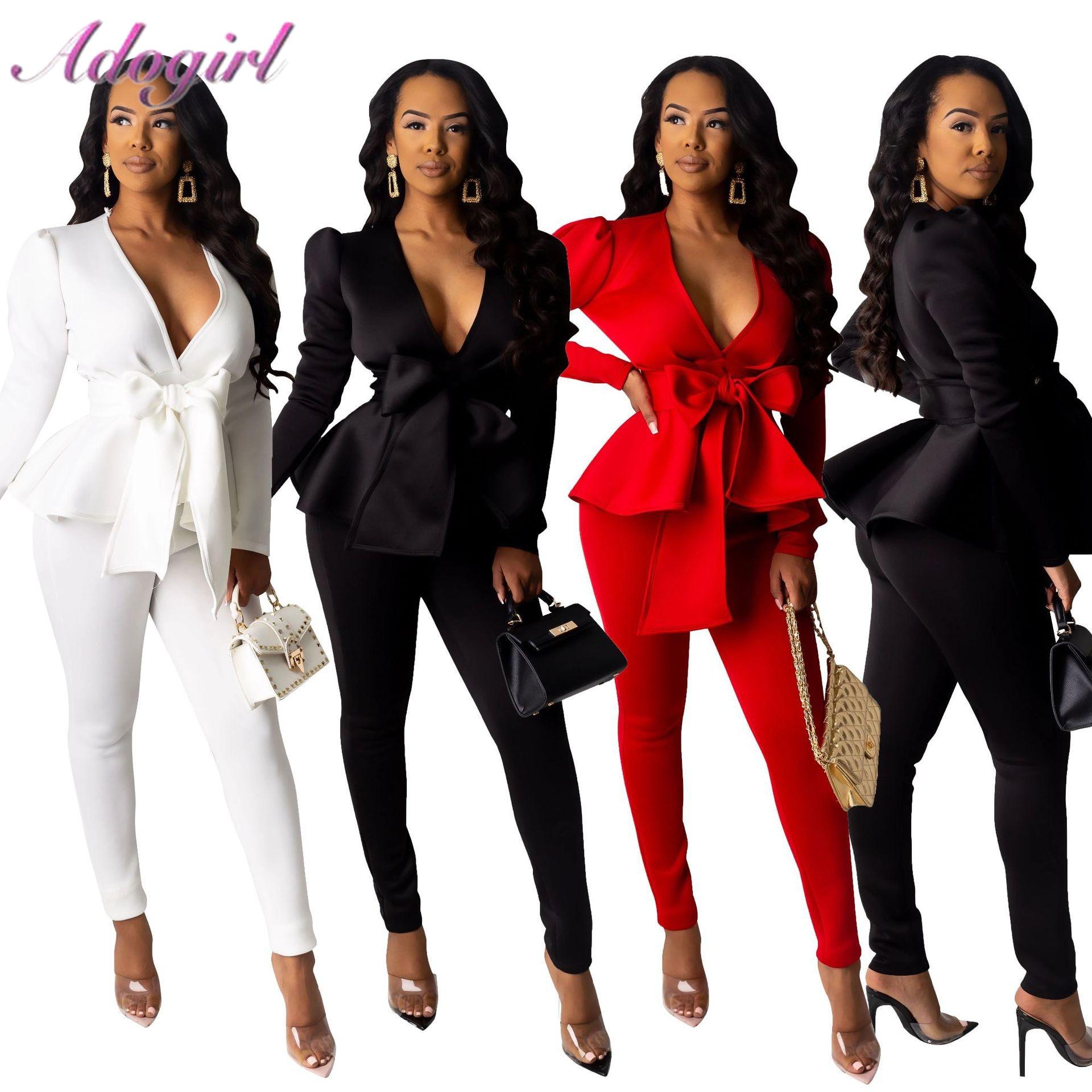 Solid Women Blazer Two Piece Set Casual V Neck Long Sleeve Ruffle Hem Blazer Coat Jacket Top Long Pants Suit Office Lady OL Set