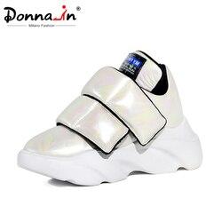 Donna-in 2019 Herfst Vrouwen Flats Echt Leer Waterdichte Schoenen Dames Ademende Fashion Sneakers Vrouwen Met Dikke Platform