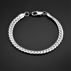 Mens 4MM 7MM Silver Color Stainless Steel Curb Snake Link Chain Bracelets for Women Unisex Wrist Jewelry Gifts