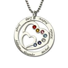 XiaoJing 100% Sterling Silver 925 Heart Necklace with Family Names&Birthstones Personalized Custom Jewelry for mother Gift