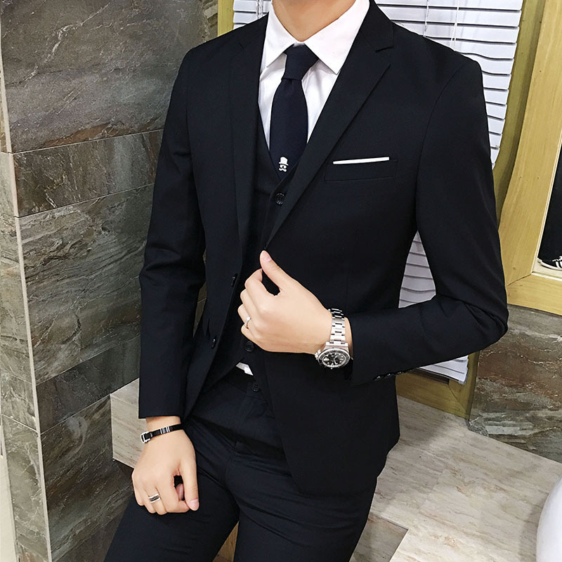 Suit Men Three-piece Set Korean-style Slim Fit Single West Coat Groom Marriage Formal Wear Trend Casual Small Suit