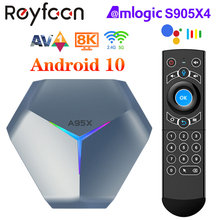 A95x f4 android 10 rgb smart tv caixa amlogic s905x4 1080p 4k 60fps hd suporte 5g duplo wifi google player youtube tvbox pk a95x f3