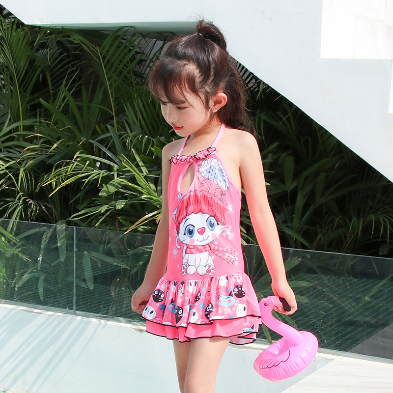 Girl'S Swimsuit Split Type Princess Dress-Boxer Bathing Suit Small Children Cute Cartoon Cat Fashion Round Neck Swimwear