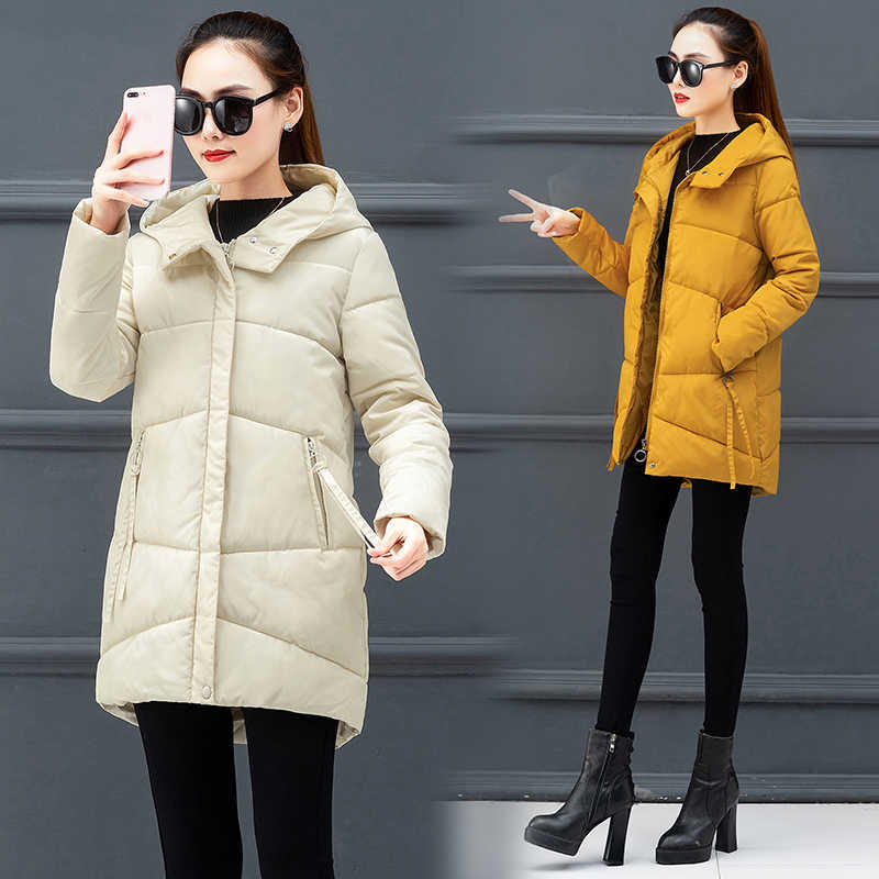 Winter Women Jacket 2019 Fashion Slim Long Parkas Female Hooded Overcoat Thick Warm Cotton padded Jackets Student Coat Lady Tops
