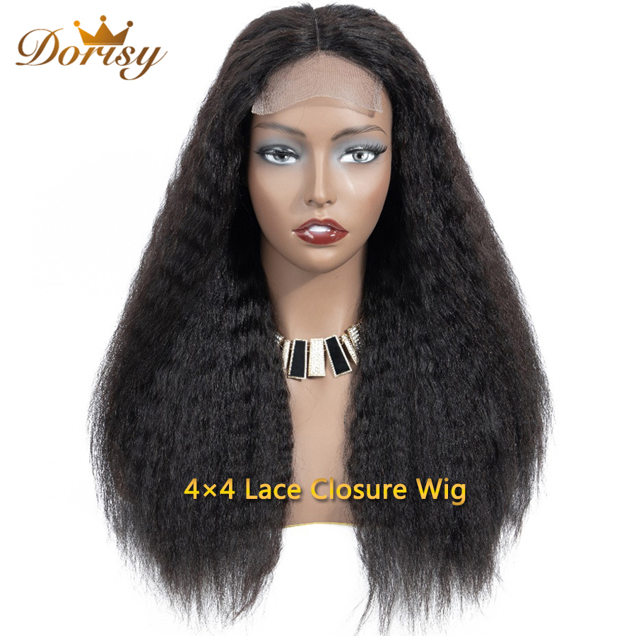 Lace Closure Wig 4  4 Kinky Straight Human Hair Wigs Lace Closure Human Hair Wigs For Malaysian Hair Dorisy Non Remy-in Lace Front Wigs from Hair Extensions & Wigs    1