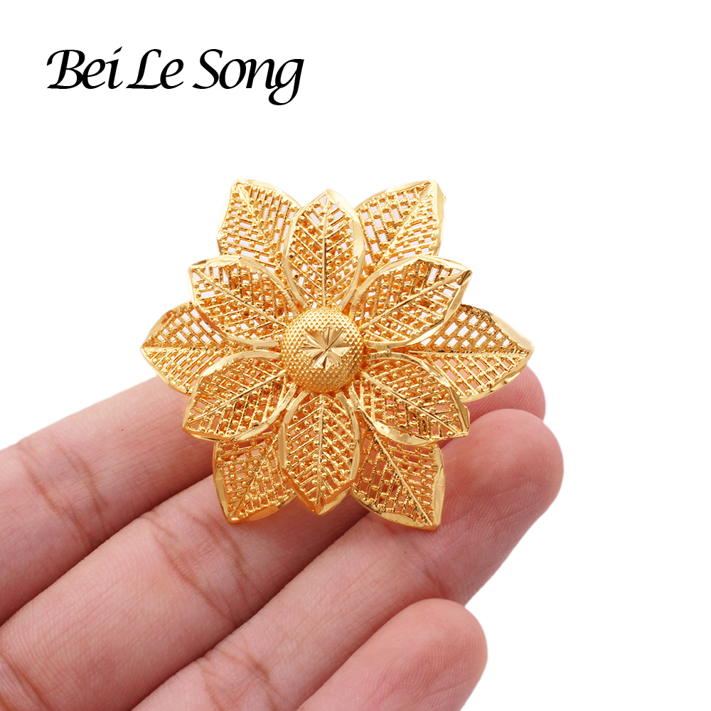 French new 24K gold color rings jewelry for women wedding bridal Party resizable girl ring luxury ring wife gifts African Dubai