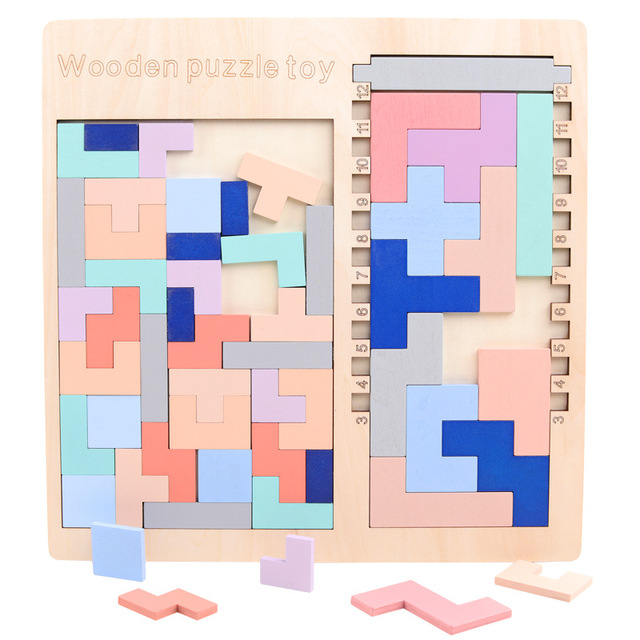 Hot Sale Multi-function Puzzle Wooden Toy Colorful Tetris Jigsaw Puzzles Kids Montessori Learning Educational Toys for Children