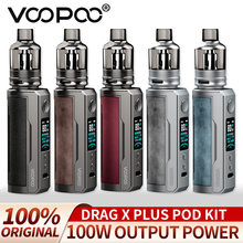 Voopoo cigarro eletrônico arrastar x plus pod kit 100w vape 5.5ml tpp pod cartucho tpp dm1 vaporizador apto 21700 18650 bateria