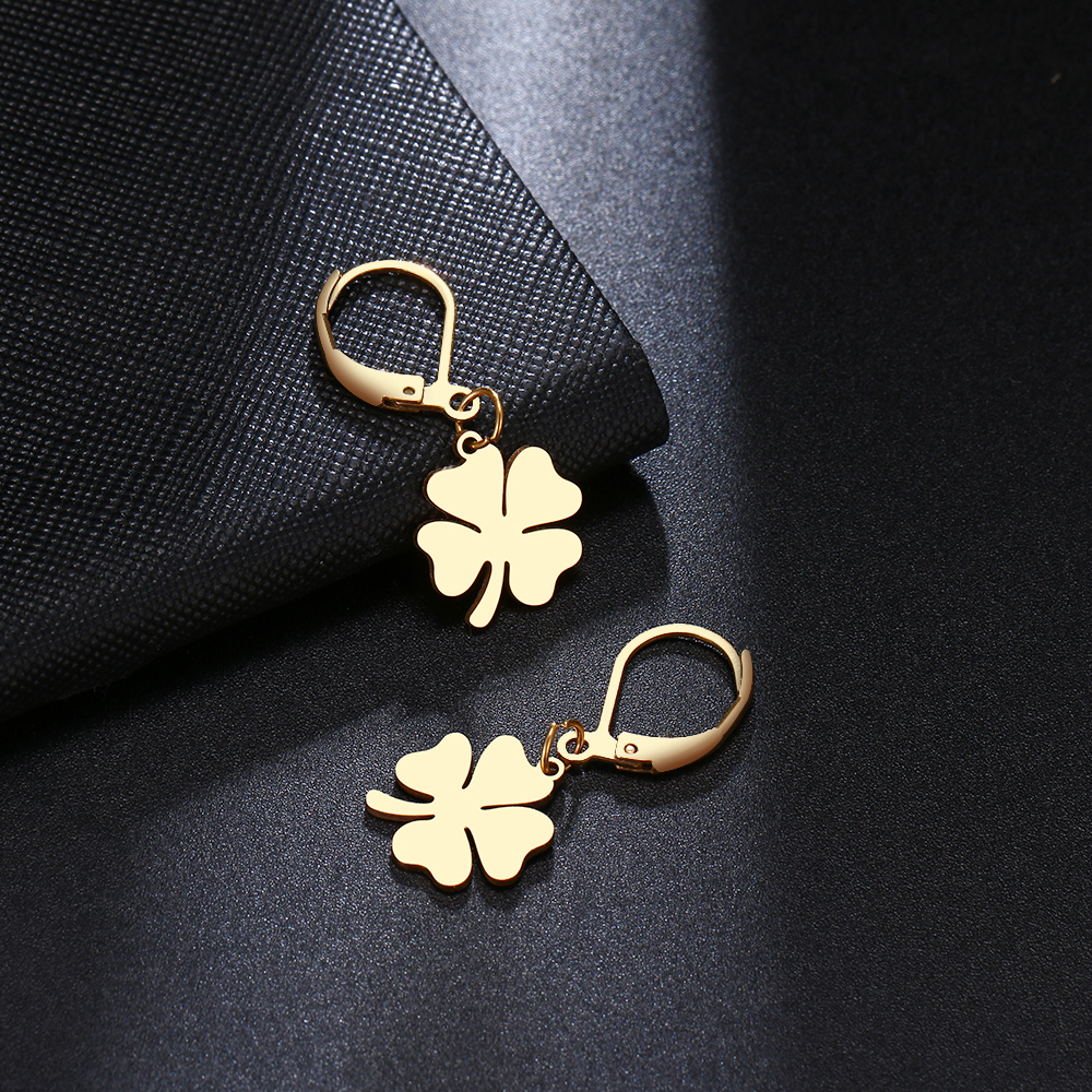 CACANA Clover Chic style Gold Earrings For Women Fashion Dangle Stainless Steel Temperament Earring Engagement Gifts Jewelry(China)