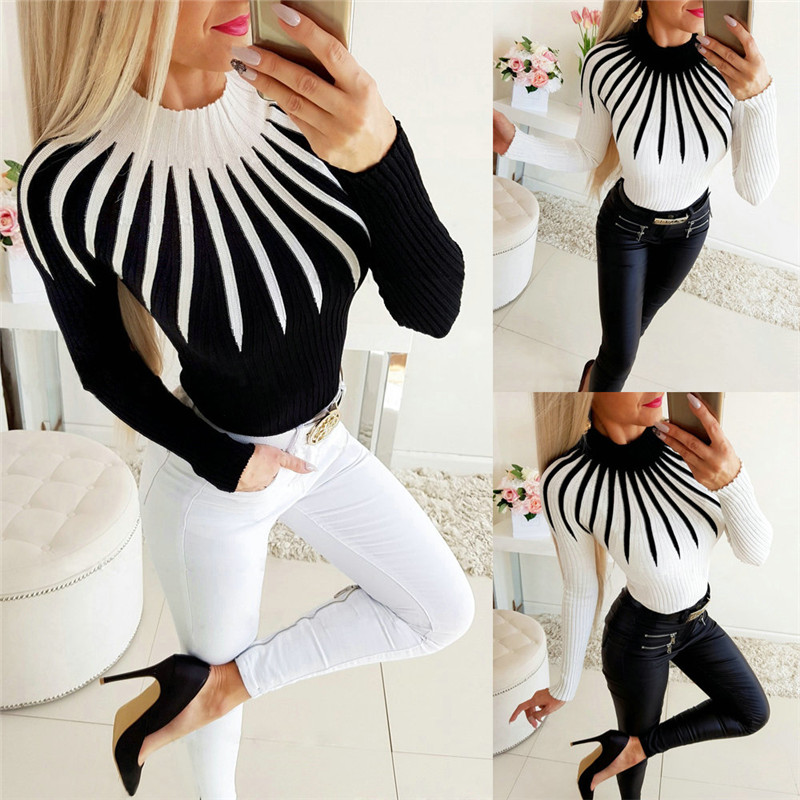 New Women Color Matching Turtleneck Sweater Long Sleeve Slim Fit Casual Clothing Patchwork Bodycon OL Fall Autumn Warm Sweater