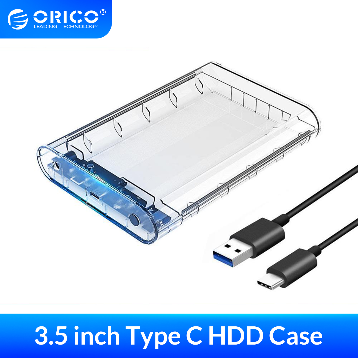 ORICO HDD Case USB3 1 External Hard Drive SATA to Type-C 3 5 inch SSD HDD Enclosure Storage  UASP 8TB With 12V Power Adapter