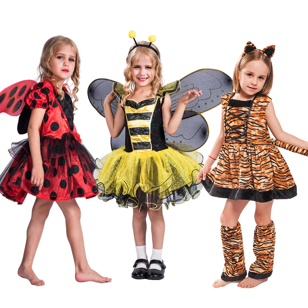 Halloween Costume Kids Animal Cosplay Tiger Leopard Bee Unicorn Tutu Dress Christmas Costume For Girls Purim Carnival Outfit