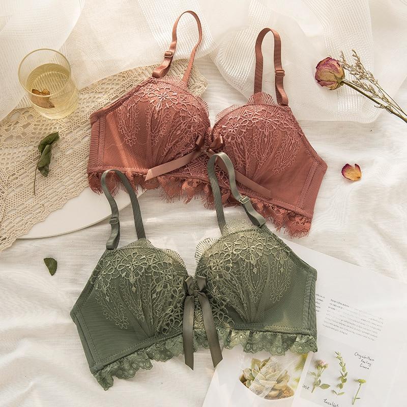 Roseheart Winter Women Fashion Green Padded Lace Trim Straps Bras Cotton Panties Push Up Bra Set Sexy Lingerie Set Underwear