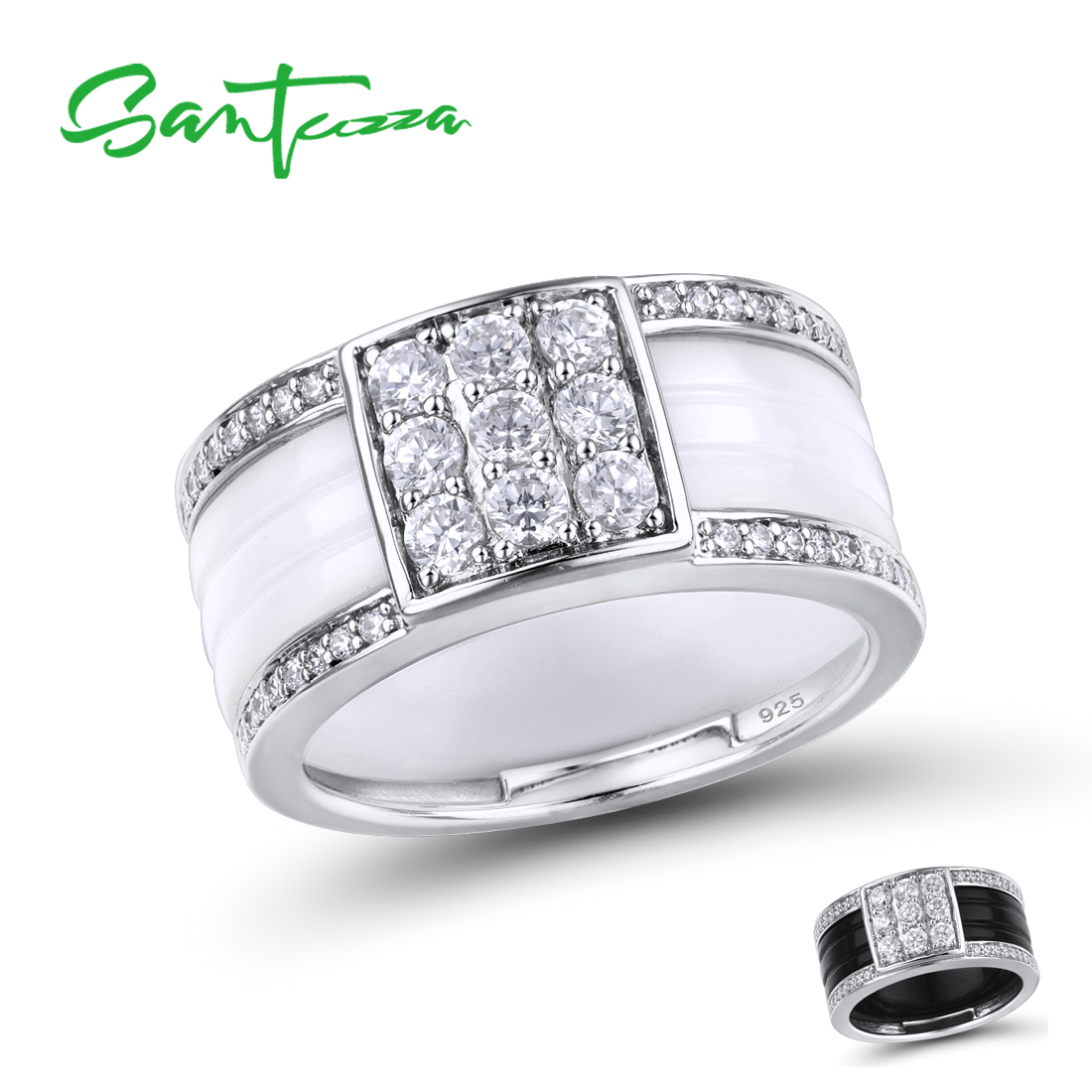 SANTUZZA Silver Rings For Women Pure 925 Sterling Silver Round White Black Ceramic Cubic Zirconia Anillos Vintage Fine Jewelry