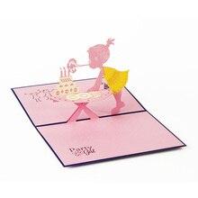 Маленькая девочка дуя Свечи с днем рождения 3D карты ручной работы складная открытка с днем рождения лучший подарок для друзей