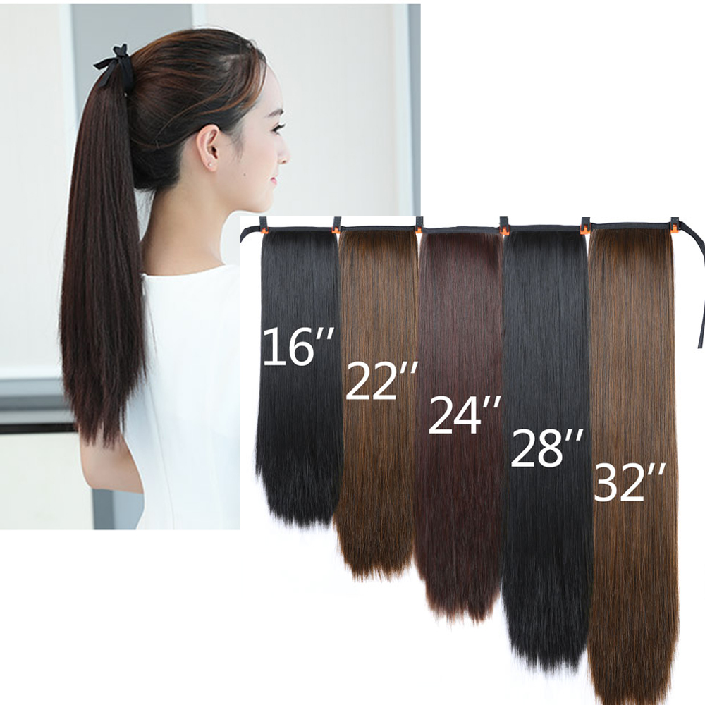 LiangMo Women's Super Long Straight Clip In Tail False Hair Ponytail Hairpiece With Hairpins Synthetic Pony Tail Extensions