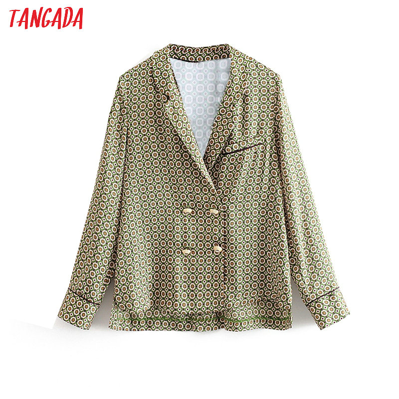 Tangada Women Chic Dots Blouse Sweet Long Sleeve Buttons Female French Fashion Casual Shirts Stylish Ladies Tops 3H160