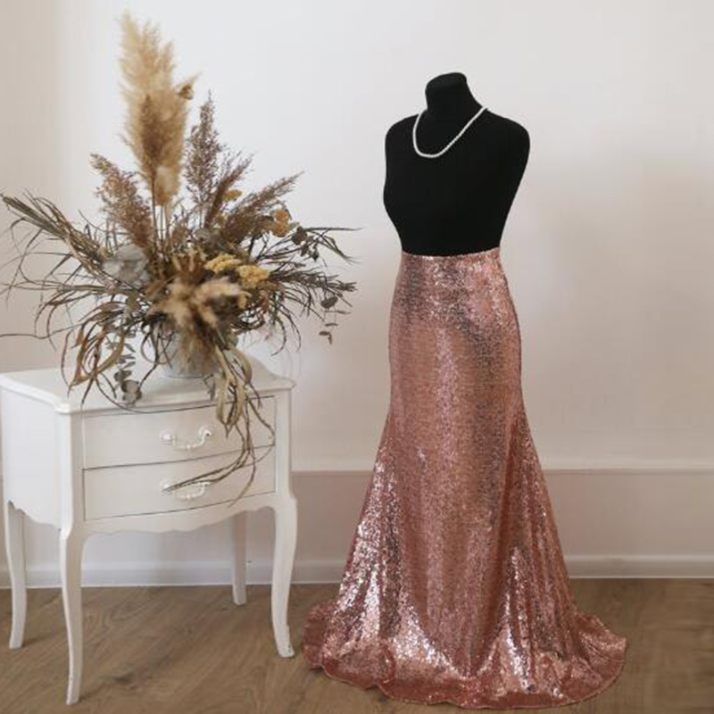 <font><b>Rose</b></font> <font><b>Gold</b></font> Shiny Sequin Long <font><b>Skirts</b></font> For Bridesmaid To Wedding Zipper Style Elegant Mermaid <font><b>Skirt</b></font> Women 2020 Custom Saia Faldas image